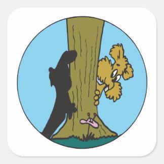 Peek A Boo Square Sticker