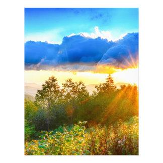 peek-a-boo sunrise in mountains letterhead