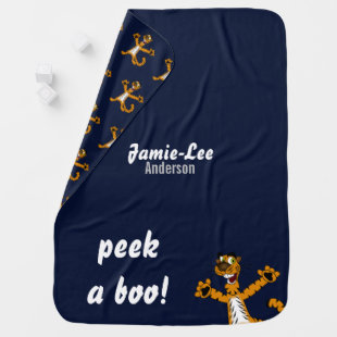 Peek-a-boo Tiger Baby Blue Boys Named Swaddle Baby Blanket