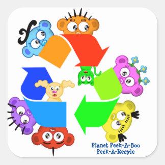 Peek-A-Recycle- Planet Peek-A-Boo Square Sticker