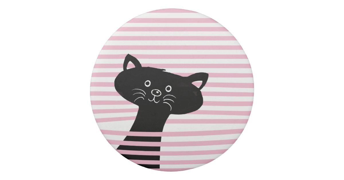 Peekaboo Cute Black Cat Cartoon Eraser Zazzle Com
