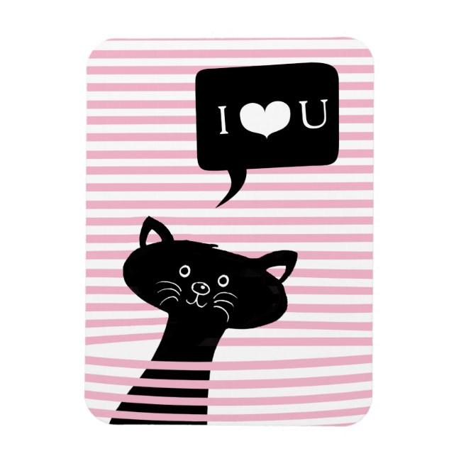 Peekaboo! Cute Black Cat | I LOVE YOU Photo Magnet