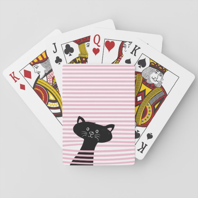 Peekaboo! Cute Black Cat - Playing Card