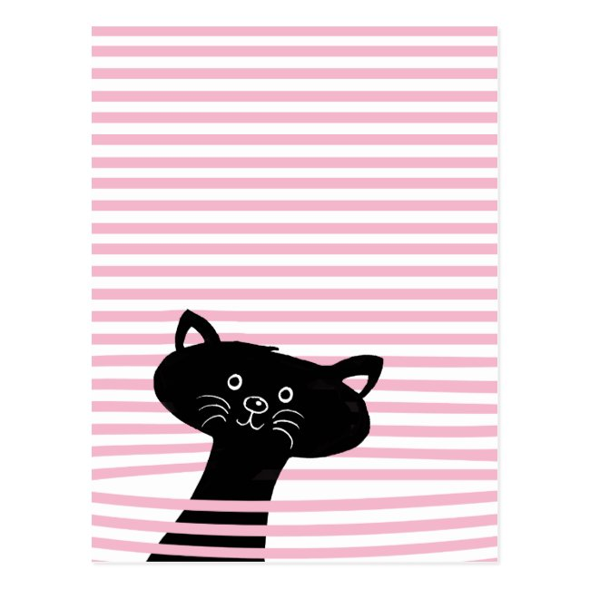 Peekaboo! Cute Black Cat - Postcard
