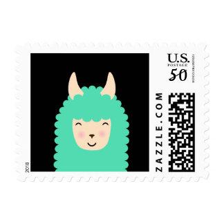 Peekaboo Happy Llama Emoji Postage Stamps