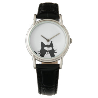 Peekaboo Kitty Cat Covering Eyes Wristwatch