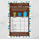 """PeekaBoo Monsters Baby Shower Game Perfect Baby<br><div class=""""desc"""">Design Description An EXCLUSIVE original design only available from MonkeyHutDesigns. &#160; Baby shower games sheet card. Peek-a-Boo Monsters Baby Shower theme featuring blue, green brown colors and sprockets &amp; stripes patterns. Matches MonkeyHutDesigns&#39; baby shower invitation design #063. Wonderful FUN baby shower game! Before guests check off their answers to what...</div>"""