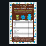 """PeekaBoo Monsters Baby Shower Game Perfect Baby Flyer<br><div class=""""desc"""">Design Description An EXCLUSIVE original design only available from MonkeyHutDesigns. &#160; Baby shower games sheet card. Peek-a-Boo Monsters Baby Shower theme featuring blue, green brown colors and sprockets &amp; stripes patterns. Matches MonkeyHutDesigns&#39; baby shower invitation design #063. Wonderful FUN baby shower game! Before guests check off their answers to what...</div>"""