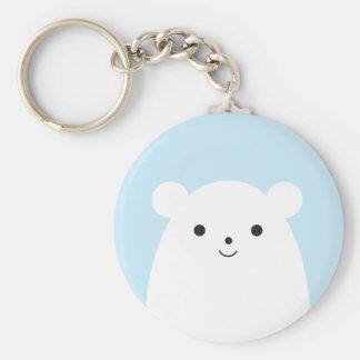 Peekaboo Polar Bear Button Keychain