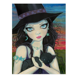 Peekaboo Witch and Cat Big Eye Art Postcard