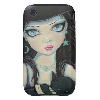 Peekaboo Witch and Cat Halloween Fantasy Art Tough iPhone 3 Cover