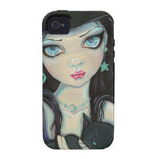 Peekaboo Witch and Cat Halloween Fantasy Art iPhone 4 Cases