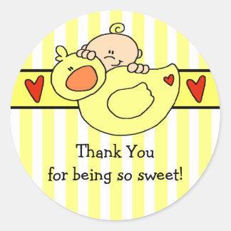 Peeking Baby & Duck Baby Shower Sticker