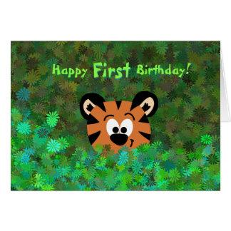 Peeking Baby Tiger Rahul Happy First Birthday Card