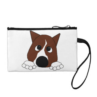 peeking basenji red and white coin wallet