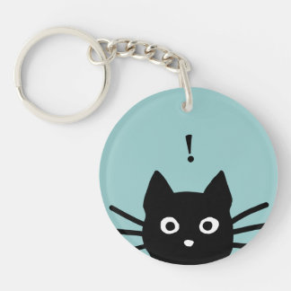 Peeking Black Cat with Customizable Color and Text Keychain