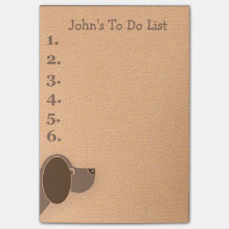 Peeking Brown Dog Personalized To Do List Post-it® Notes