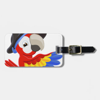 Peeking Cartoon Pirate Parrot Bag Tag