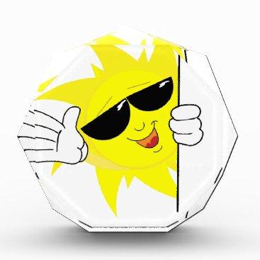 Beach Themed peeking cartoon sun acrylic award