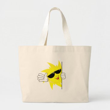 Beach Themed peeking cartoon sun large tote bag