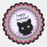 Peeking Cat Birthday Envelope Stickers