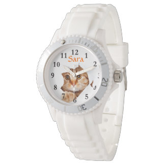 Peeking Cat on Sporty White Silicon Wrist Watch