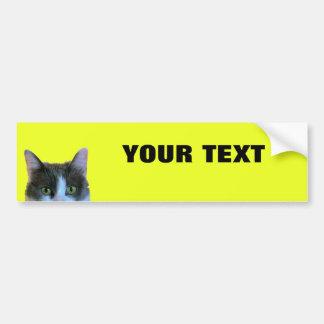 "Peeking Cat Your Text ""Folio Extra Bold"" on Yellow Bumper Sticker"
