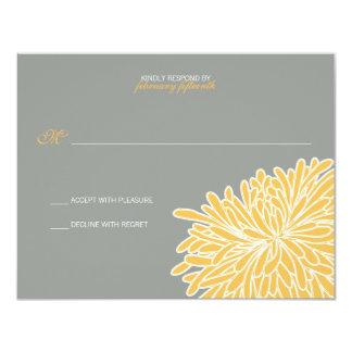 Peeking Chrysanthemum Wedding Response 4.25x5.5 Paper Invitation Card