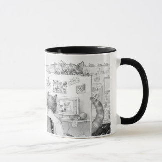 Peeking Cubicle Cat Mug