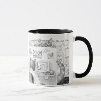 Peeking Cubicle Cat Mug