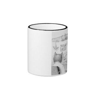 Peeking Cubicle Cat Ringer Coffee Mug