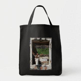 Peeking donkey tote bag