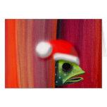 Peeking fish with Santa hat Card