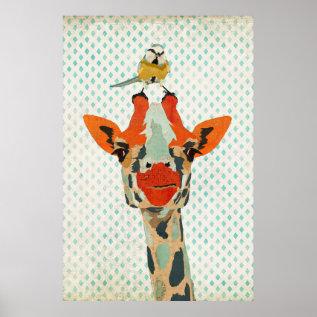 Peeking Giraffe & Little Bird Art Poster at Zazzle