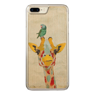 PEEKING GIRAFFE & PARROT Carved iPhone Carved iPhone 8 Plus/7 Plus Case