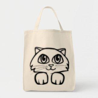 Peeking Kitten Cute Canvas Tote Bag
