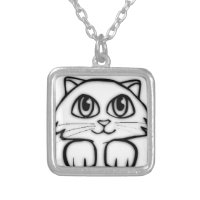 Peeking Kitten Square Pendant Necklace