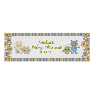 Peeking Monsters Baby Shower Banner Posters