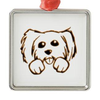 Peeking Puppy Dog Square Metal Christmas Ornament