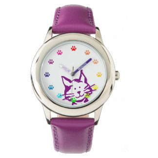 Peeking Purple Cat with Paws as Numbers Wrist Watch