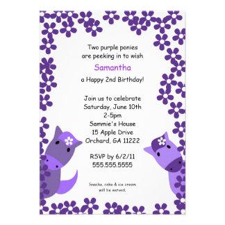 Peeking Purple Ponies 2nd Birthday Invite
