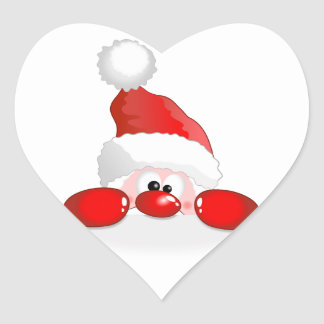Peeking Santa Claus Heart Sticker