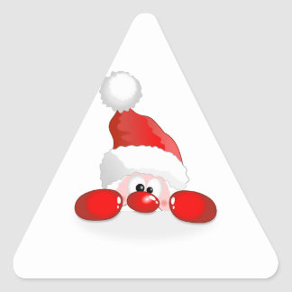 Peeking Santa Claus Triangle Sticker