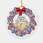 Peeking Twins Baby's First Christmas Ornament