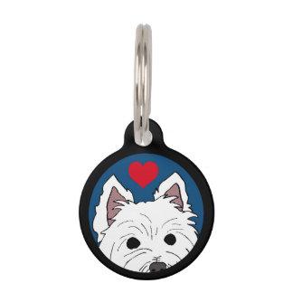 Peeking Westie with Heart Pet Tag
