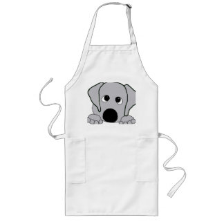 peeking wimaraner gray long apron