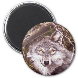 Peeking Wolf 2 Inch Round Magnet