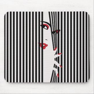 Peeking Woman (White) Mousepad