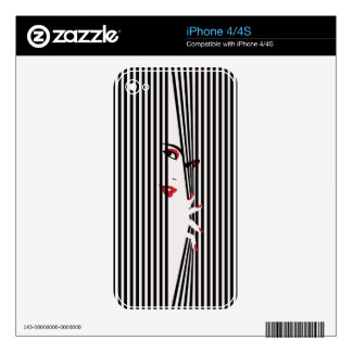 Peeking Woman (White) Phone Protection Skin Decal For The iPhone 4S