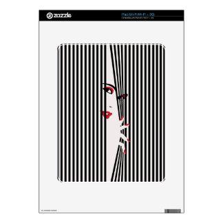 Peeking Woman (White) Tablet Protection Skin Skin For The iPad